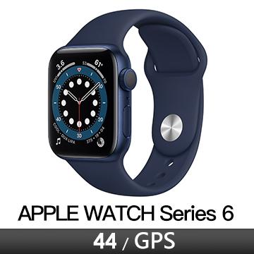 Apple Watch S6 GPS 44/藍鋁/海軍深藍運動錶帶 M00J3TA/A
