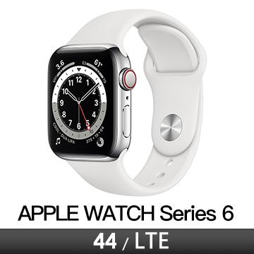 Apple Watch S6 LTE 44/銀不鏽鋼/白運動錶帶