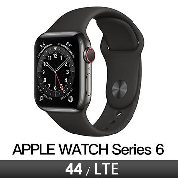 Apple Watch S6 LTE 44/石墨不鏽鋼/黑運動錶帶