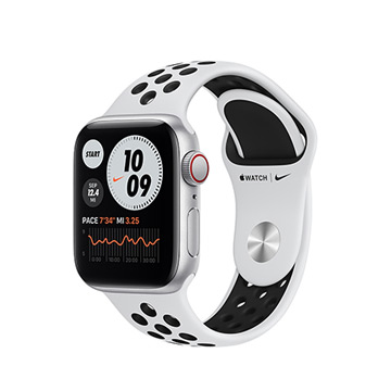 Apple Watch SE Nike+ LTE 40/銀鋁/白底黑洞運動錶帶