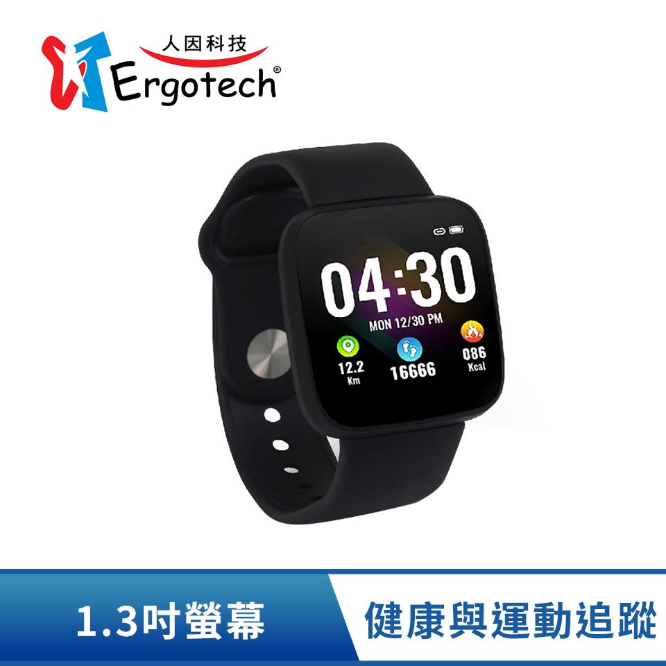 人因Ergotech 心律智慧監測運動手環-黑-具血氧飽和度偵測功能