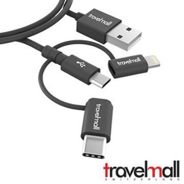TravelMall 3In1 數據/傳輸線 黑
