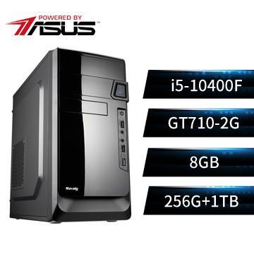 PBA華碩平台[異谷戰士PRO]桌上型電腦(i5-10400F/B460/8G/GT710/256G+1T)