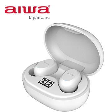 aiwa 真無線電量顯示藍牙耳機-白