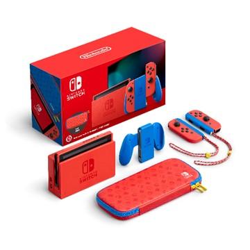 (同捆組合)Switch 瑪利歐亮麗紅x亮麗藍主機組合+指定遊戲片2片