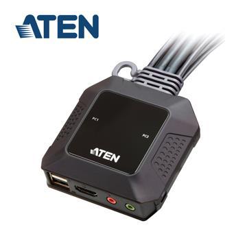 ATEN CS22H 2埠USB 4K HDMI帶線式KVM切換器