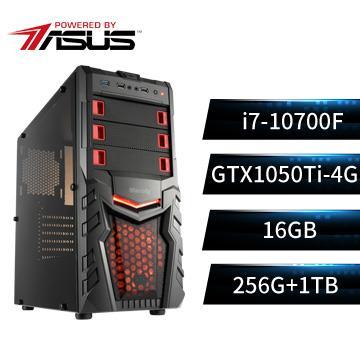 PBA華碩平台[天翼軍神]桌上型電腦(i7-10700F/16G/GTX1050Ti/256G+1T)