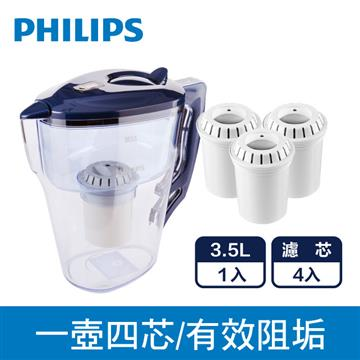 飛浦利超濾計時器濾水壺+三入濾心組*1