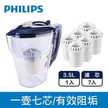 飛浦利超濾計時器濾水壺+三入濾心組*2
