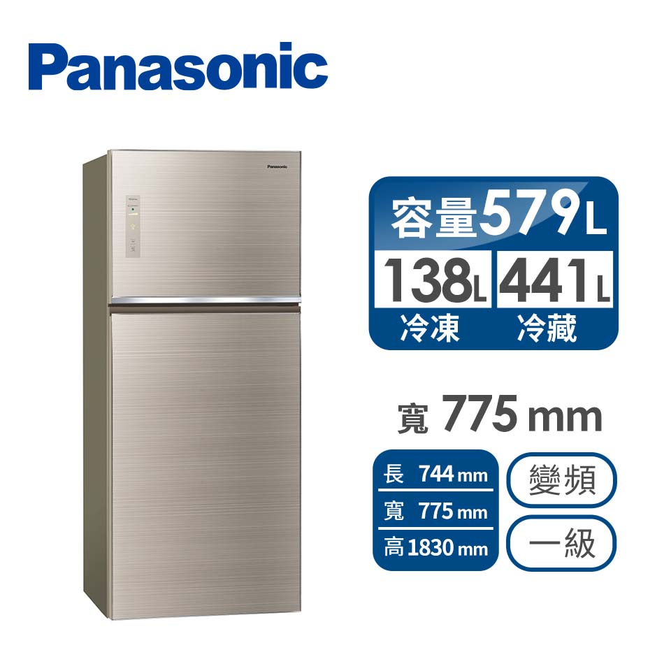 Panasonic 579公升玻璃雙門變頻冰箱(NR-B581TG-N(翡翠金))