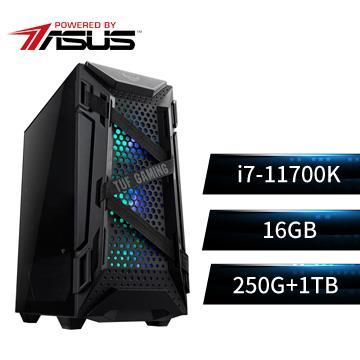 PBA華碩平台[虎天騎士]i7八核效能SSD電腦(i7-11700K/Z590/16G/250G+1T)