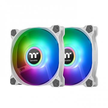 曜越Pure Duo 12 ARGB主板連動風扇(雙顆)白