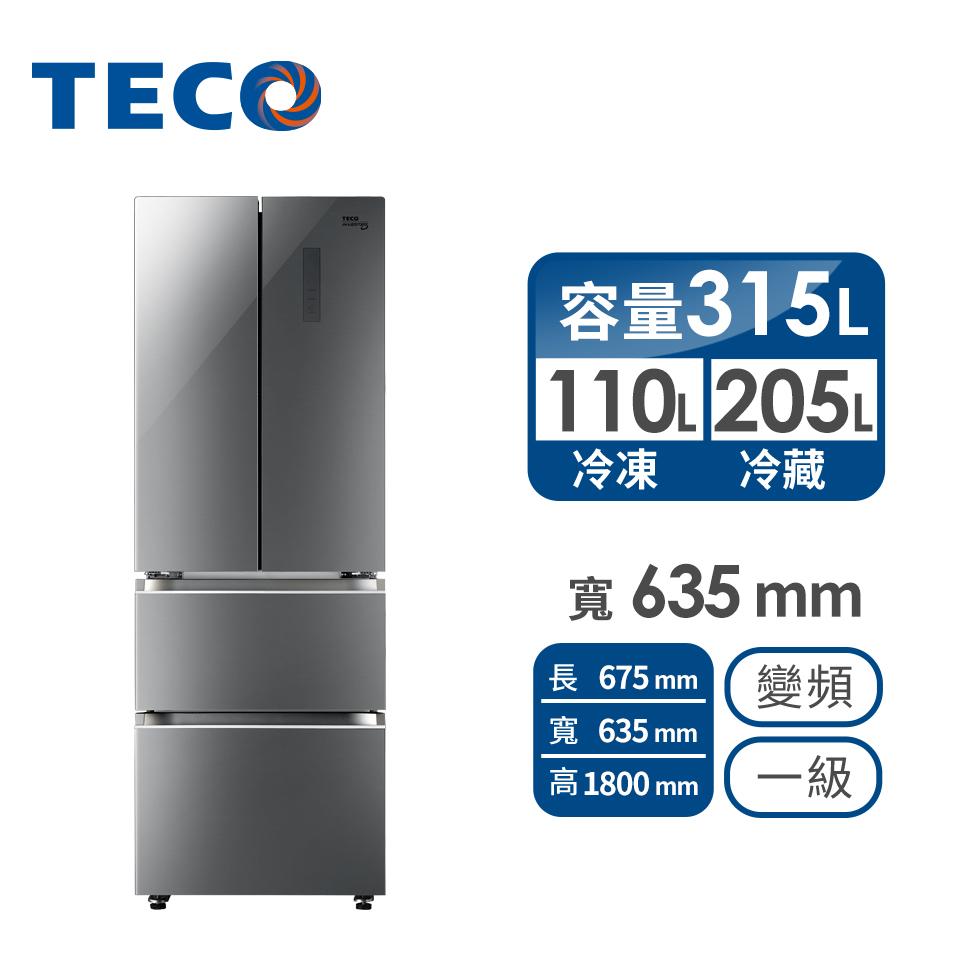 東元 315公升玻璃四門變頻冰箱