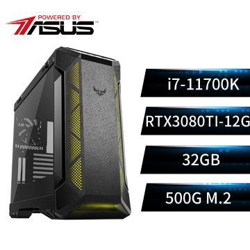 PBA華碩平台[爆風狂神]i7八核獨顯電腦(i7-11700K/Z590/32G/RTX3080Ti/500G)