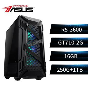 PBA華碩平台[鋼鐵戰熊]R5六核獨顯SSD電腦(R5-3600/16G/GT710/250G+1T/W10)