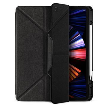 JTLEGEND iPad Pro 12.9吋筆槽布紋皮套-黑