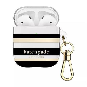 kate Spade AirPods 1/2代保護套-黑金條紋