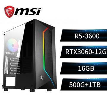 MSI微星平台[天地戰士]R5六核獨顯SSD電腦(R5-3600/A520M/16G/RTX3060/500G+1T)