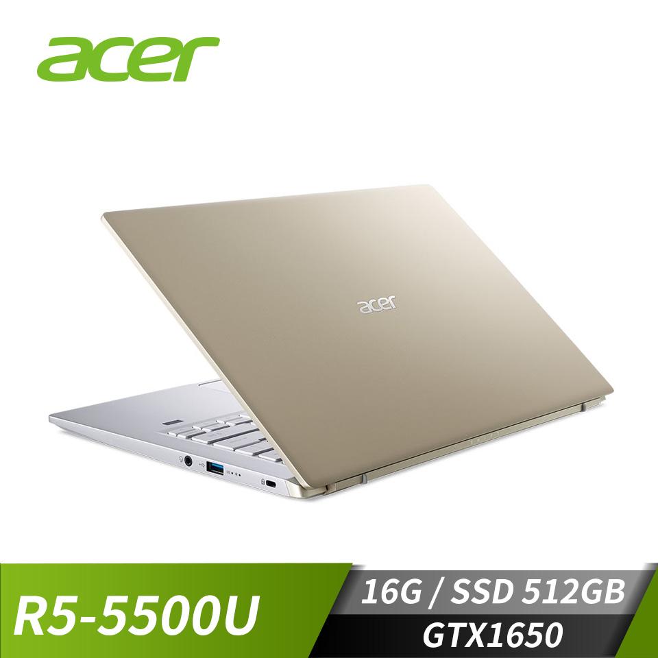 """宏碁 ACER  Swift X 筆記型電腦 14""""(R5-5500U/16G/512G/GTX1650/W10)金"""