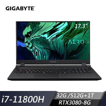 GIGABYTE技嘉 AERO 17 HDR YD 創作者筆電(i7-11800H/32G/512G+1T/RTX3080/W10P)