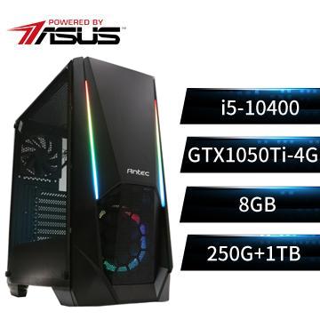 PBA華碩平台[絕世鬥神]i5六核獨顯雙碟電腦(i5-10400/B560M/8G/GTX1050Ti/250G+1T)