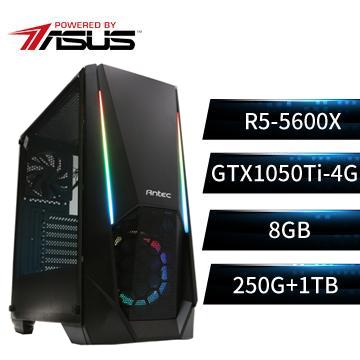 PBA華碩平台[幻世鬥神]R5六核獨顯雙碟電腦(R5-5600X/B550M/8G/GTX1050Ti/250G+1T)