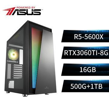 PBA華碩平台[幻世魔神]R5六核獨顯SSD電腦(R5-5600X/B550M/16G/RTX3060Ti/500G+1T)