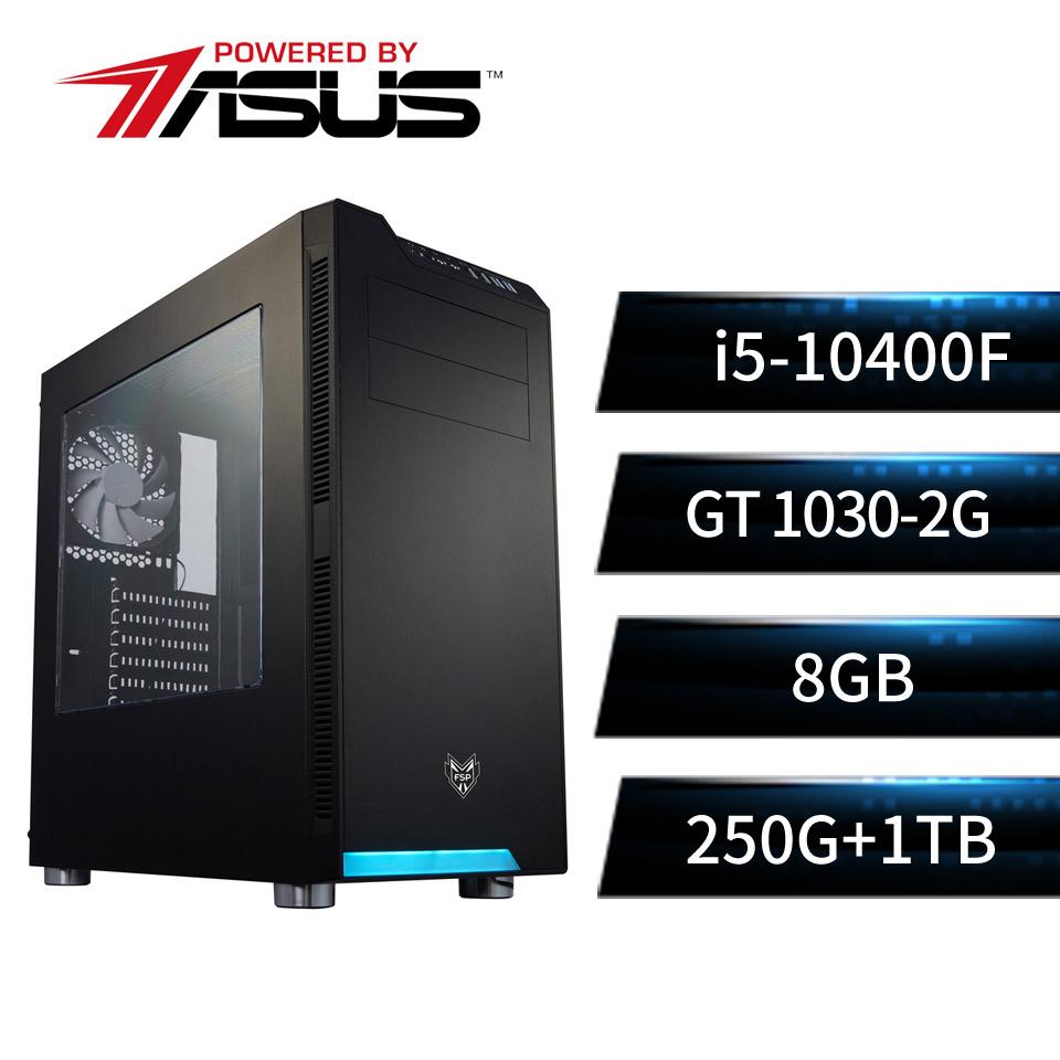 PBA華碩平台[通天武神]i5六核獨顯SSD電腦(i5-10400F/B560M/8G/GT1030/250G+1T)