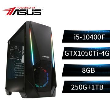 PBA華碩平台[通天鬥神]i5六核獨顯SSD電腦(i5-10400F/B560M/GTX1050Ti/250G+1T)