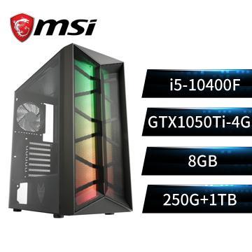 MSI微星平台[虎賁勇士]i5六核獨顯SSD電腦(i5-10400F/B560M/8G/GTX1050Ti/250G+1T)