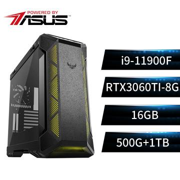 PBA華碩平台[鐵虎謀士]i9八核獨顯SSD電腦(i9-11900F/B560M/16G/RTX3060Ti/500G+1T)