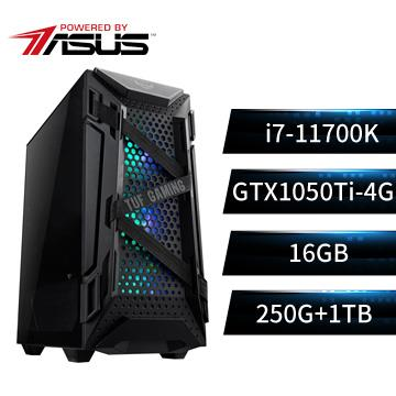 PBA華碩平台[虎天英雄]i7八核獨顯SSD電腦(i7-11700K/Z590-P/16G/GTX1050Ti/250G+1T)
