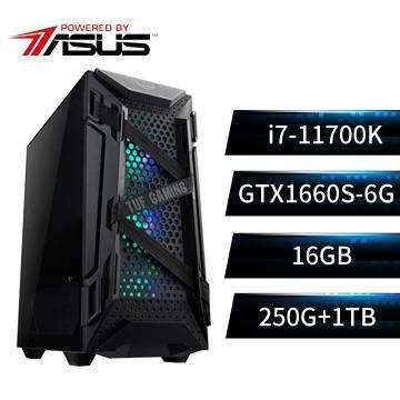 PBA華碩平台[虎天特務]i7八核獨顯SSD電腦(i7-11700K/Z590-P/16G/GTX1660S/250G+1T)
