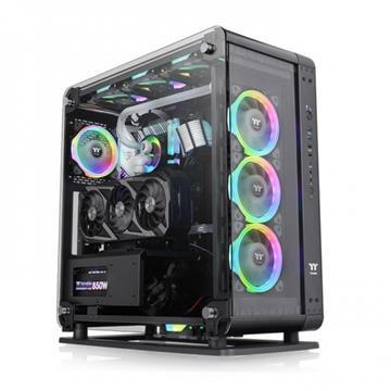 【組裝散熱套件】曜越 Core P6 TG強化玻璃中直立式機殼+水冷排+電源供應器