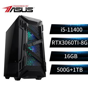 PBA華碩平台[虎雄衛士]i5六核獨顯雙碟電腦(i5-11400/B560M/16G/RTX3060Ti/500G+1T)