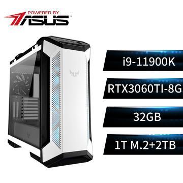 PBA華碩平台[雪霸猛神]i9八核獨顯SSD電腦(i9-11900K/Z590/32G/1T+2T/RTX3060Ti)