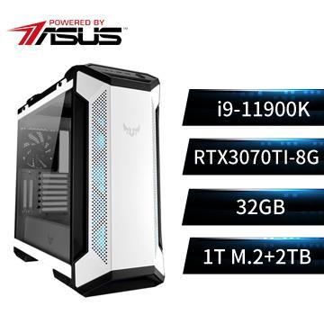 PBA華碩平台[雪霸鬥神]i9八核獨顯SSD電腦(i9-11900K/Z590/32G/RTX3070Ti/1T/W10)