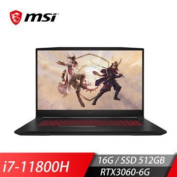"""微星MSI GF76 11UE-226TW 電競筆電 17.3""""(i7-11800H/16G/512G/RTX3060/Win10)"""