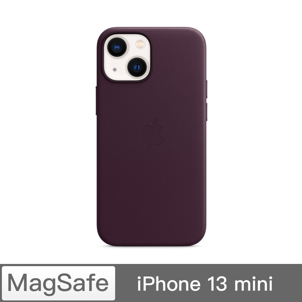 iPhone 13 mini MagSafe 皮革殼-暗櫻桃色