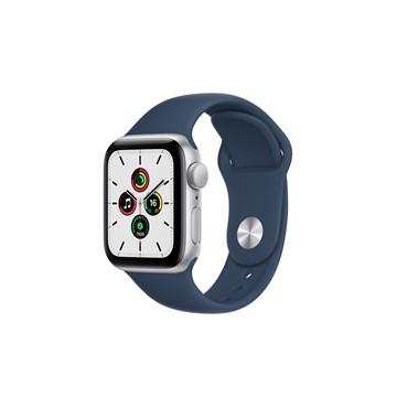 Apple Watch SE GPS 40mm 銀色鋁金屬錶殼 深邃藍色運動型錶帶