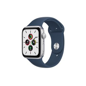 Apple Watch SE GPS 44mm|銀色鋁金屬錶殼|深邃藍色運動型錶帶