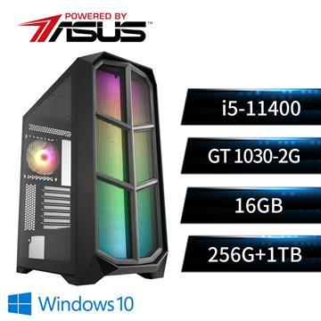 華碩平台[魔天勇神]i5六核Win10獨顯SSD電腦(i5-11400/B560M/16G/GT1030/256G+1T)