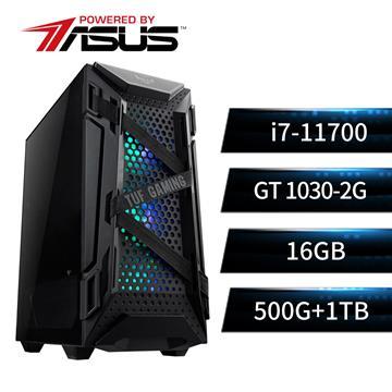 華碩平台[虎鷹勇士]i7八核獨顯SSD電腦(i7-11700/B560M/16G/GT1030/500G+1T)