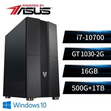 華碩平台[黑暗勇神]i7八核Win10獨顯SSD電腦(i7-10700/B560M/16G/GT1030/500G+1T)