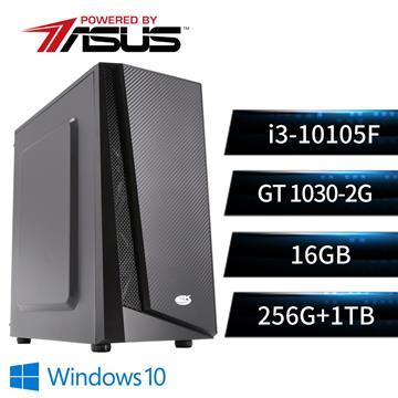 華碩平台[遁天勇神]i3四核Win10獨顯SSD電腦(i3-10105F/H510M/16G/GT1030/256G+1T/W10)