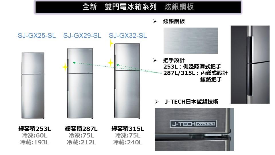 SHARP夏普 253公升雙門冰箱 SJ-GX25-SL 另有NR-B239TV NR-B409TV NR-B429GV